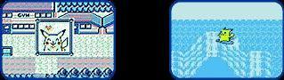 Happy Pikachu and surfing Pikachu mini game screen shots from Pokemon Yellow